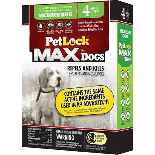 PetLock MAX for Dogs Flea & Tick Medium Dog Repellent, 4-count (Size: 4-count) Image