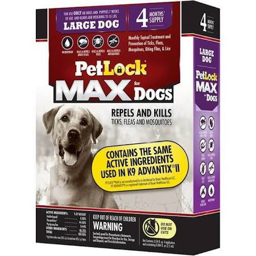 PetLock MAX for Dogs Flea & Tick Large Dog Repellent, 4-count (Size: 4-count) Image