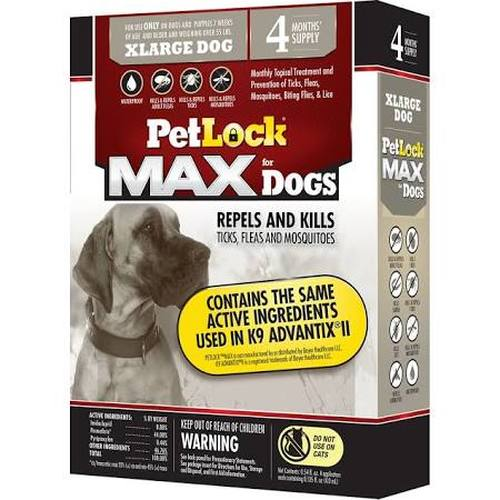 PetLock MAX for Dogs Flea & Tick X-Large Dog Repellent, 4-count (Size: 4-count) Image