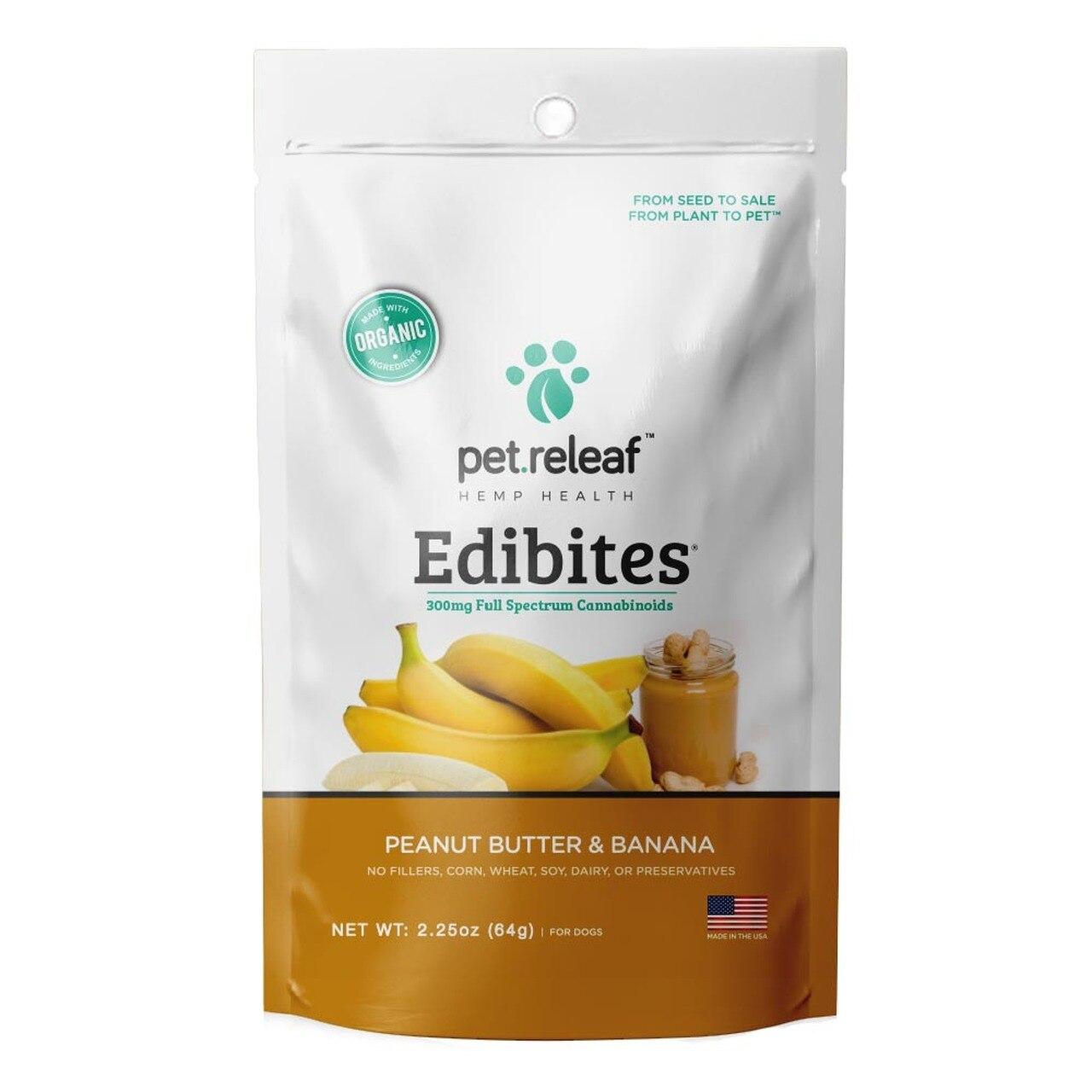 Pet Releaf Edibites Peanut Butter & Banana Dog Treats, 2.25-oz