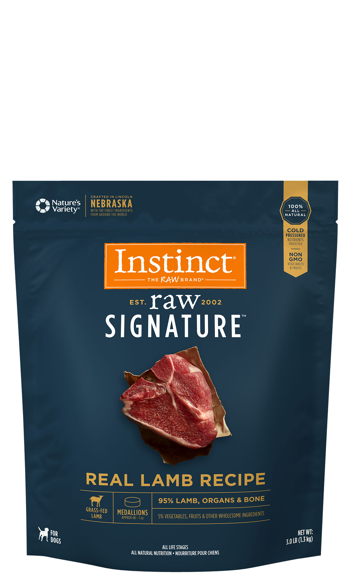 Instinct by Nature's Variety Raw Signature Real Lamb Recipe Medallion Grain-Free Frozen Dog Food, 3-lb
