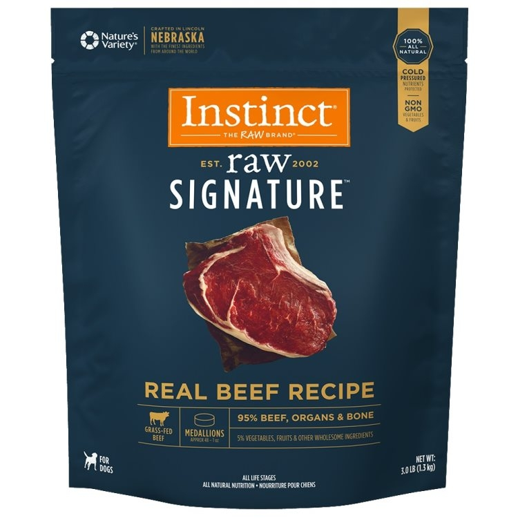Instinct by Nature's Variety Raw Signature Real Beef Recipe Medallion Grain-Free Frozen Dog Food, 3-lb