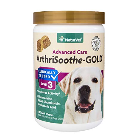 NaturVet ArthriSoothe Gold Level 3 Dog & Cat Soft Chews, 180-count