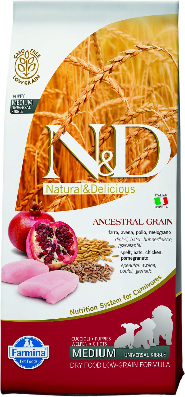 Farmina N&D Ancestral Grain Chicken & Pomegranate Medium Puppy Dry Dog Food, 26.4-lb