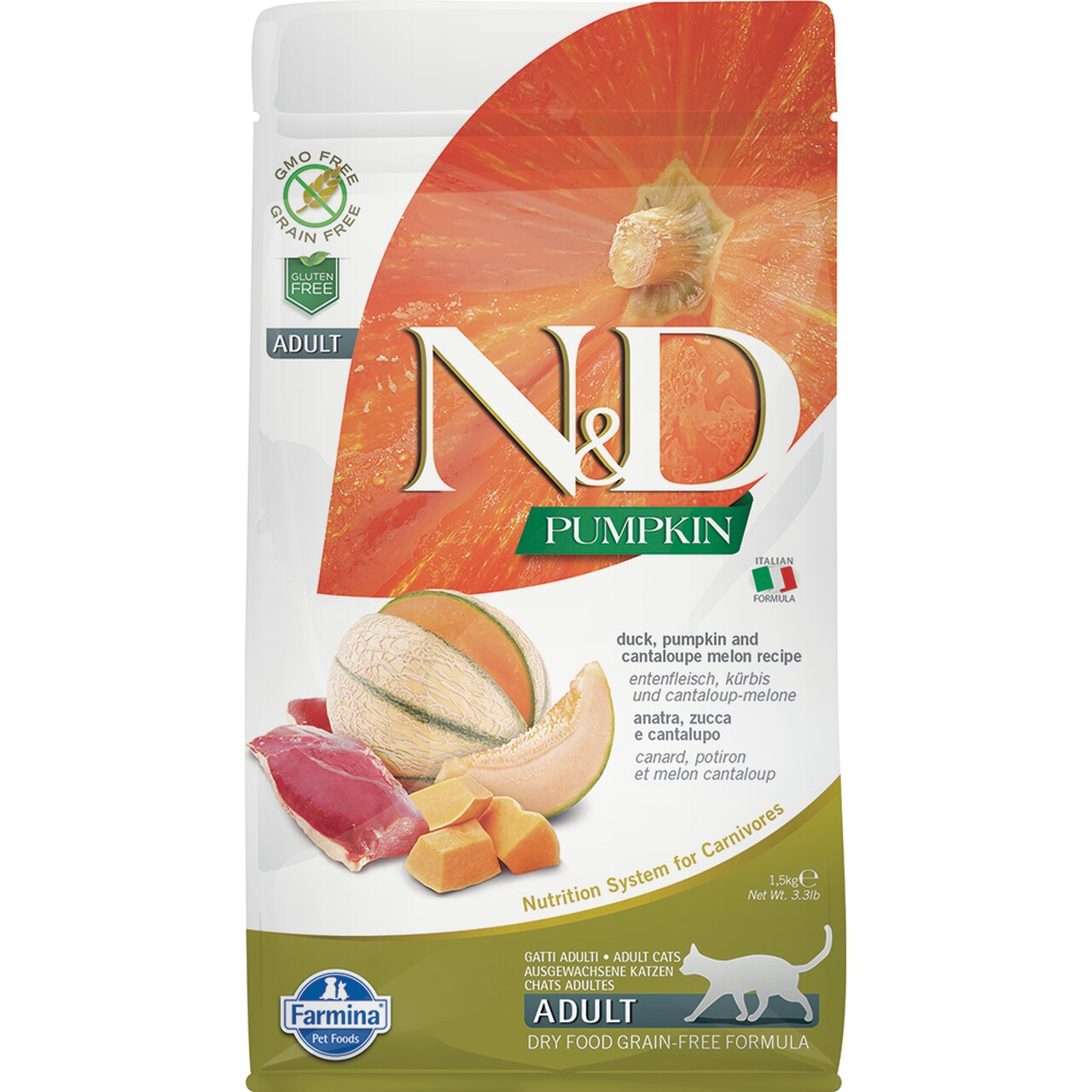 Farmina N&D Pumpkin Duck & Cantaloupe Melon Adult Dry Cat Food, 3.3-lb