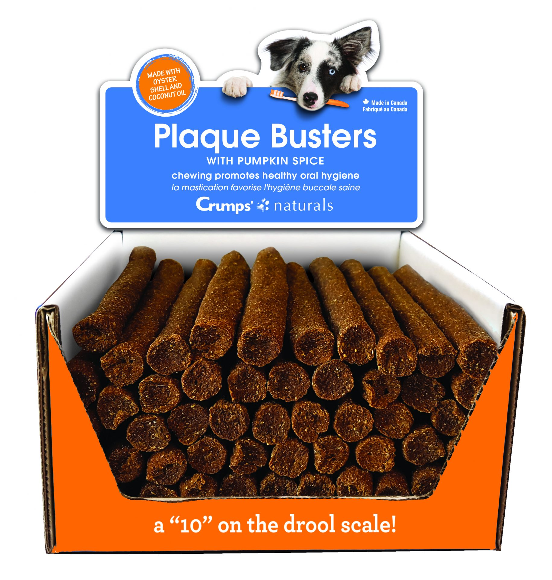 Crumps' Naturals Plaque Busters with Pumpkin Spice Dog Treats, 50-count
