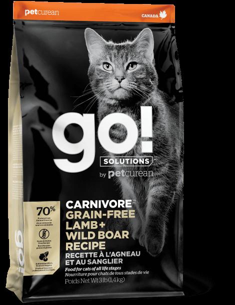 Go! Carnivore Grain-Free Lamb + Wild Boar Dry Cat Food, 3-lb