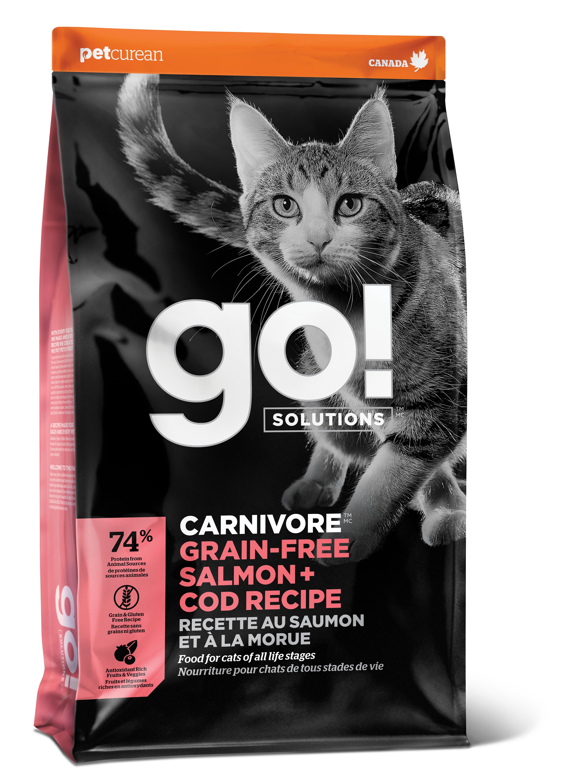 Go! Solutions Carnivore Salmon + Cod Grain-Free Dry Cat Food, 3-lb