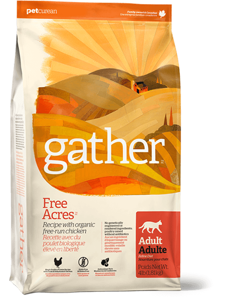 Petcurean Cat Gather Free Acres Organic Free-Run Chicken Dry Cat Food, 8-lb