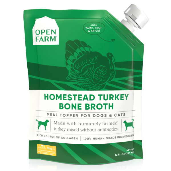 Open Farm Homestead Turkey Bone Broth Cat & Dog Meal Topper, 12-fl-oz