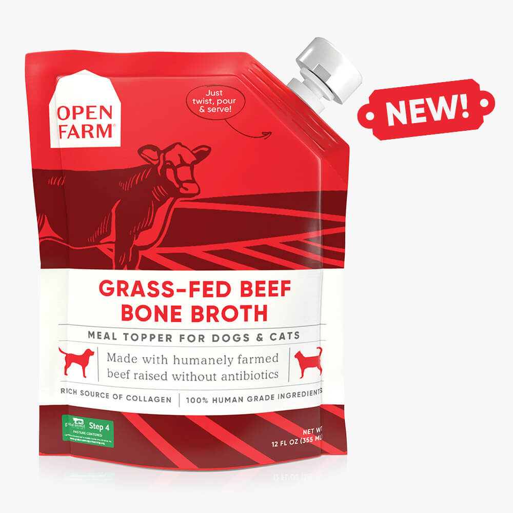 Open Farm Grass-Fed Beef Bone Broth Cat & Dog Meal Topper, 12-fl-oz