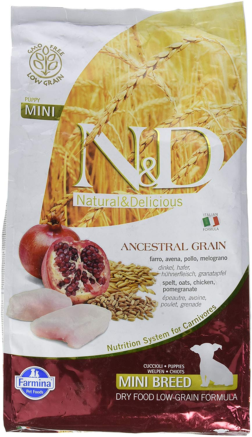 Farmina N&D Ancestral Grain Chicken & Pomegranate Mini Puppy Dry Dog Food, 5.5-lb