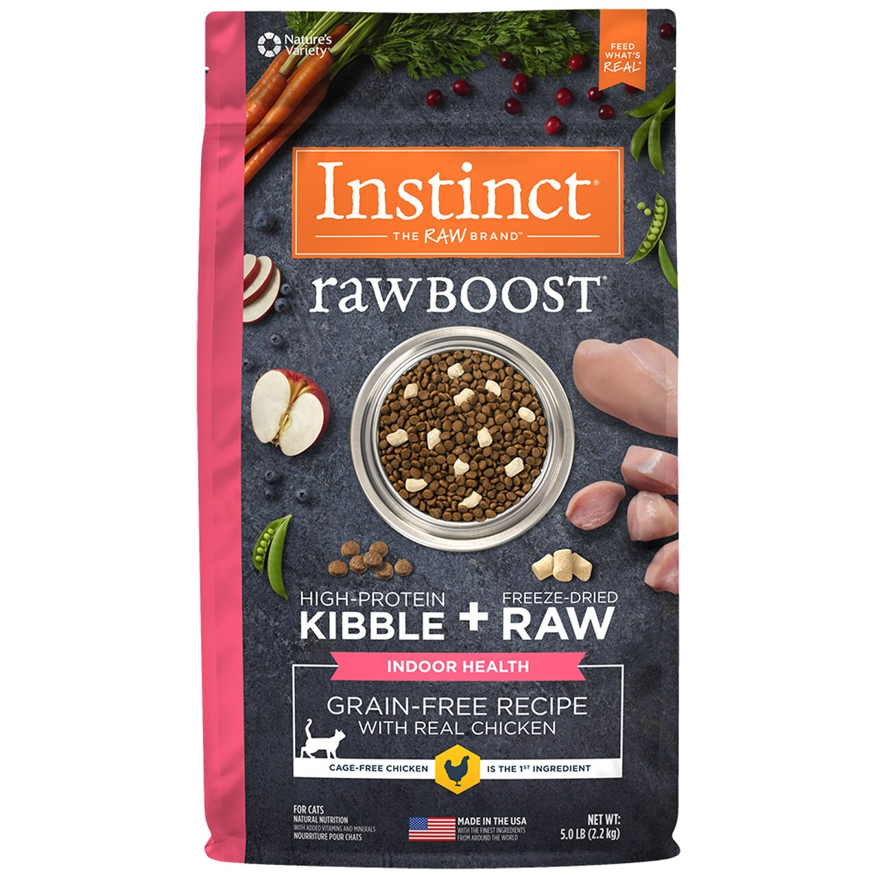 Instinct by Nature's Variety Raw Boost Indoor Health Grain-Free Recipe with Real Chicken Dry Cat Food Image