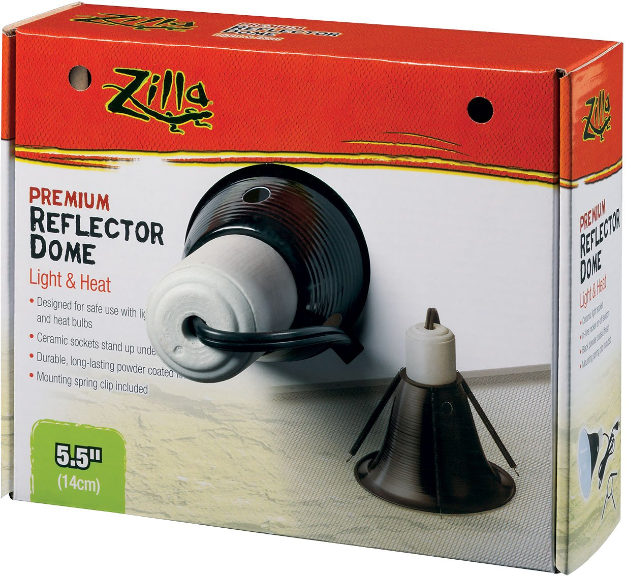 Zilla Premium Reflector Light & Heat Black Ceramic Dome Lighting Fixture Image