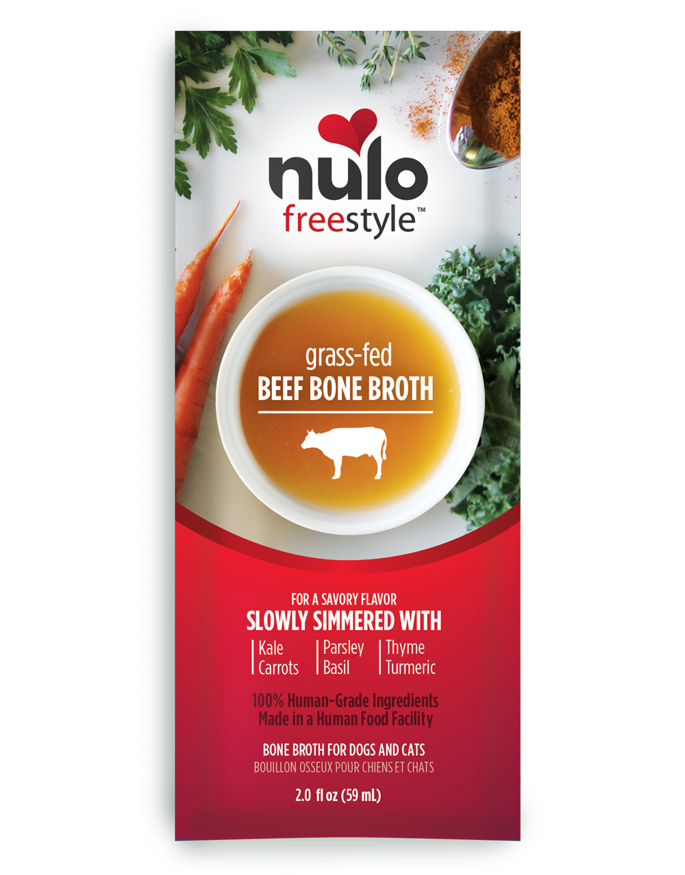 Nulo Freestyle Bone Broth Grass-Fed Beef Dog & Cat Food Topper, 2-oz
