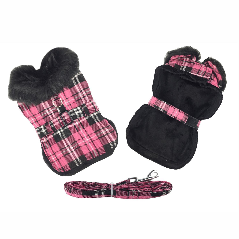 Doggie Design Designer Dog Coat Harness with Matching Leash, Hot Pink Plaid with Black Fur, Large