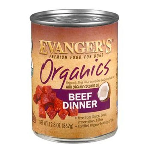 Evanger's Premium Organics Beef Dinner Wet Dog Food, 12.8-oz