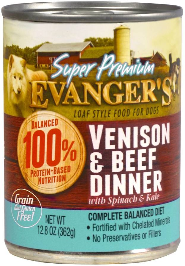 Evanger's Super Premium Venison & Beef Dinner Grain-Free Wet Dog Food, 12.8-oz