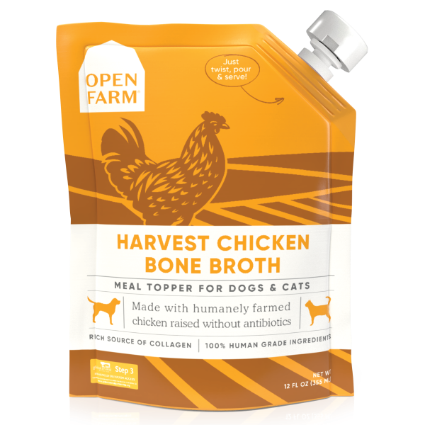 Open Farm Harvest Chicken Bone Broth Cat & Dog Meal Topper, 12-fl-oz