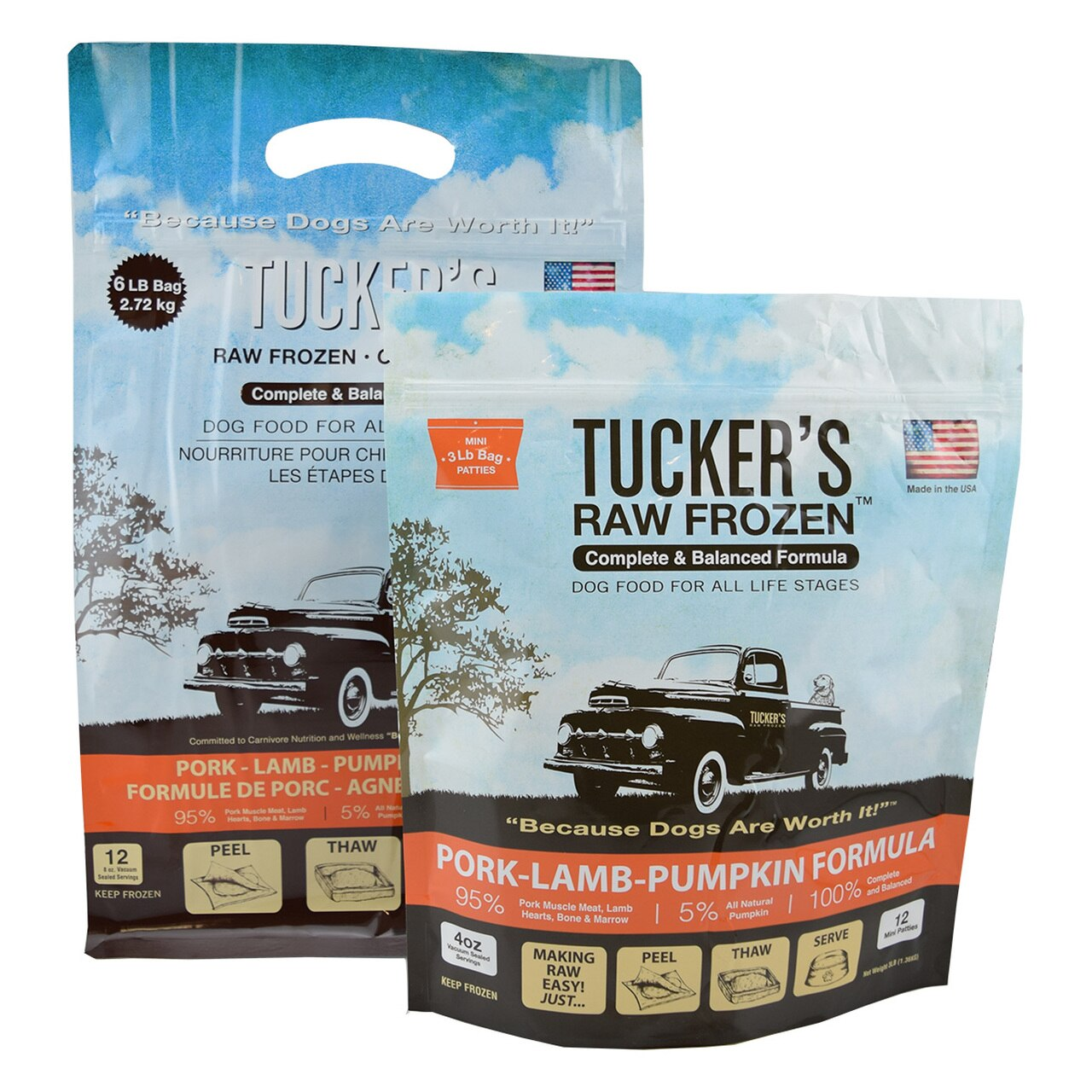 Tucker's Raw Frozen Grain-Free Pork, Lamb & Pumpkin Formula Raw Frozen Dog Food, 3-lb
