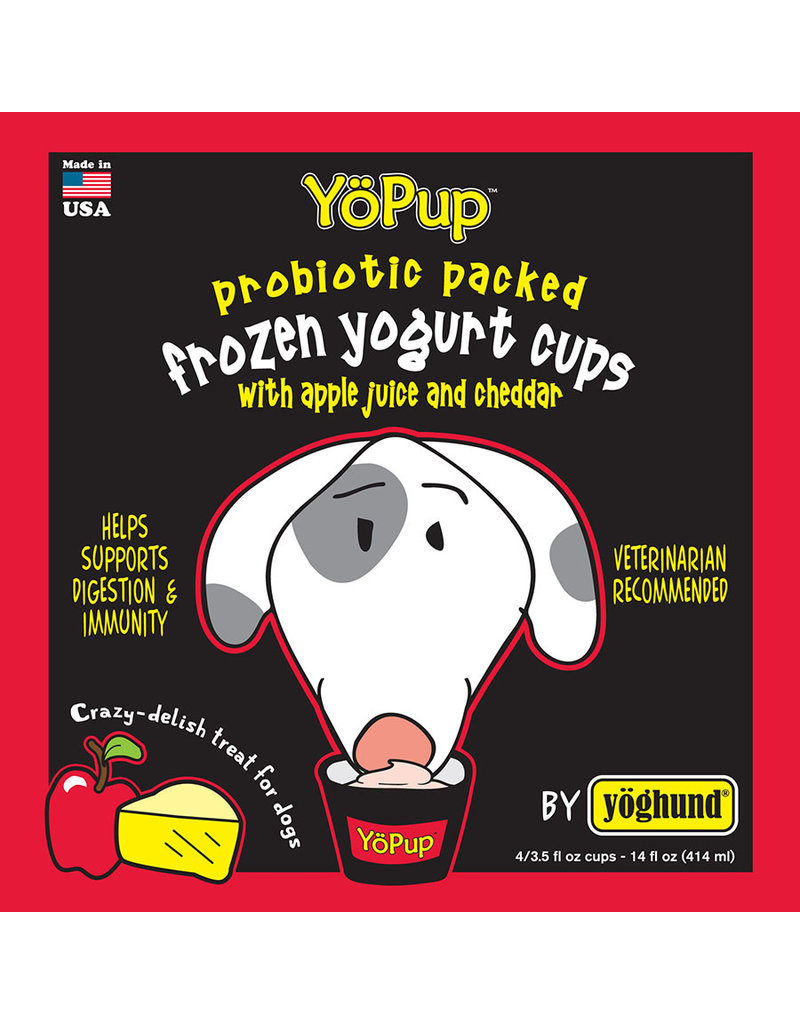 Yoghund Yo Pup Frozen Yogurt Cups Apple Juice & Cheddar Dog Treats, 4-pk (Size: 4-pk) Image
