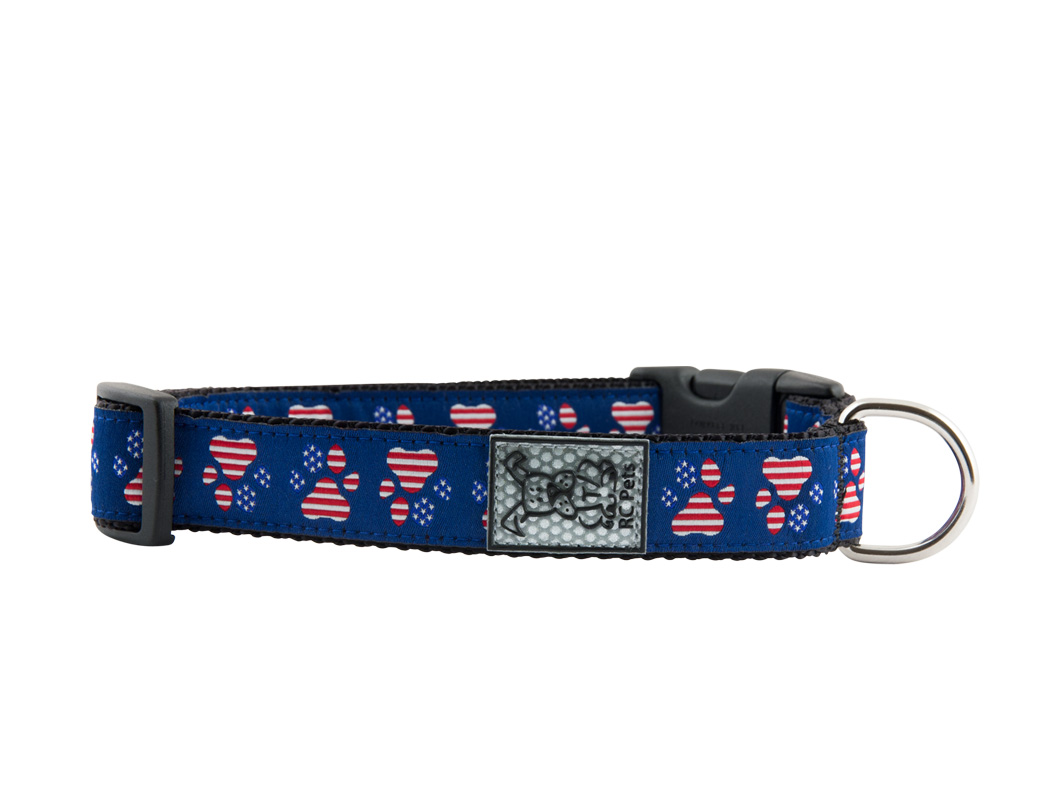 RC Pet Products Clip Patriotic Paw Dog Collar, X-Small