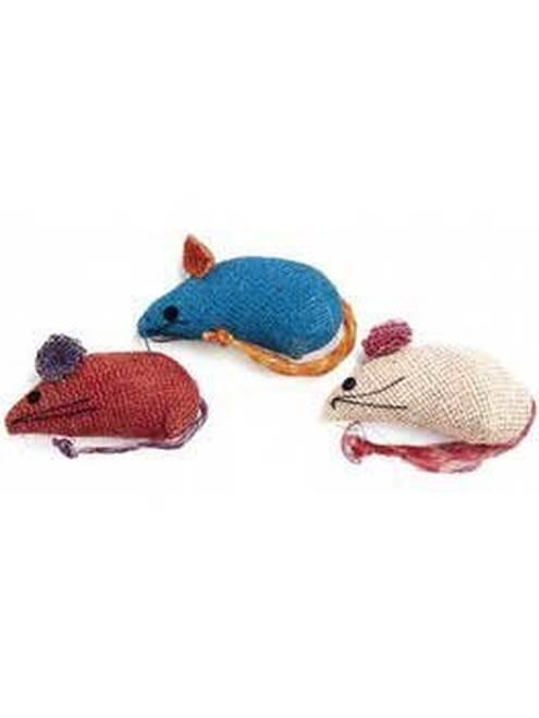 Ethical Pet Spot Colored Burlap Mice Catnip Cat Toy, 3-pk