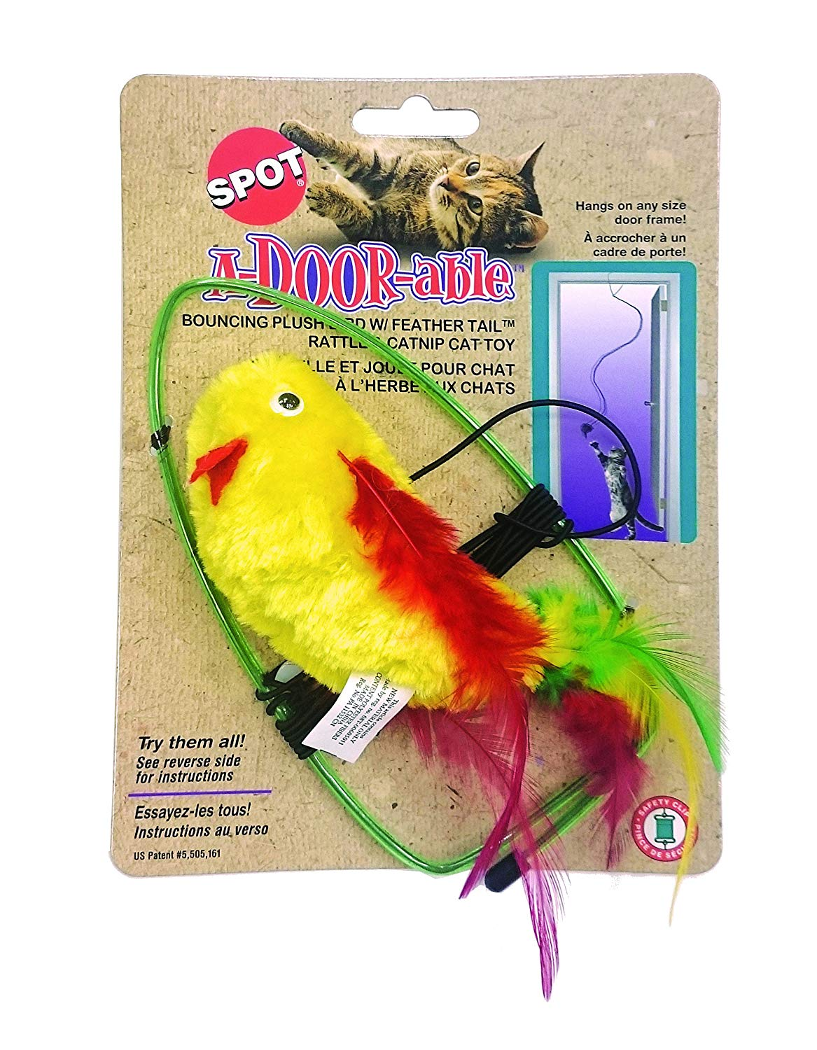 Ethical Pet Spot A-Door-Able Bouncing Bird with Feather Tail Cat Toy, Color Varies