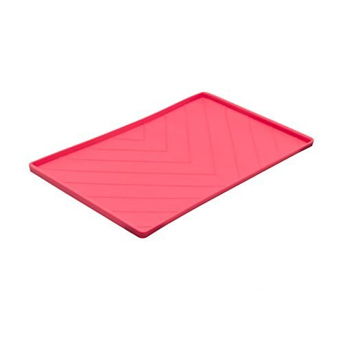 Messy Mutts Silicone Mat with Metal Rods, Red, Medium