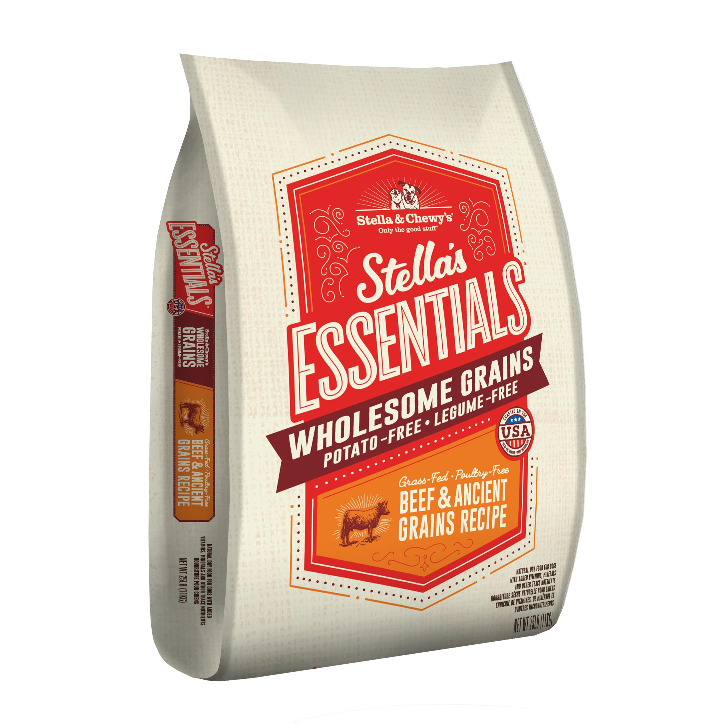 Stella & Chewy's Essentials Wholesome Grains Beef & Ancient Grains Dry Dog Food, 25-lb
