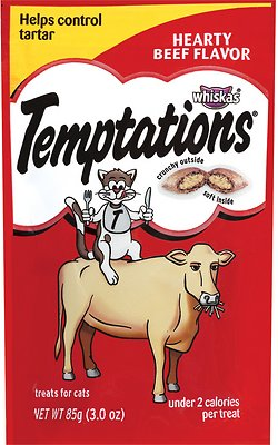 Temptations Hearty Beef Flavor Cat Treats, 3-oz bag