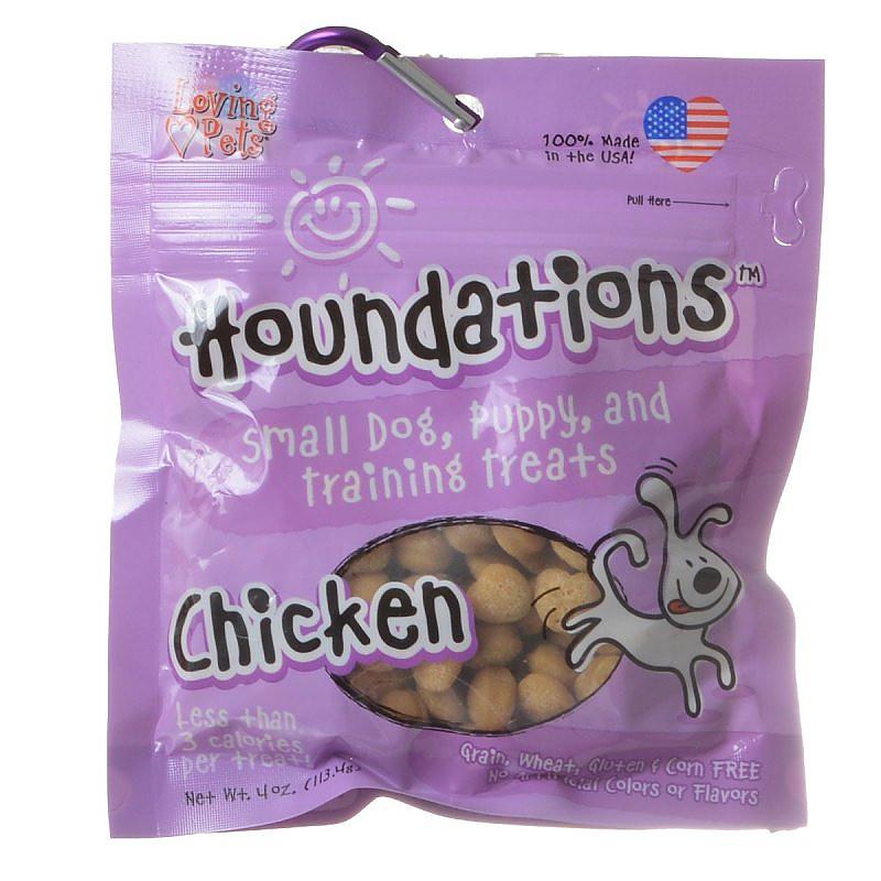 Loving Pets Houndations Chicken Small Dog, Puppy, and Training Dog Treats, 4-oz