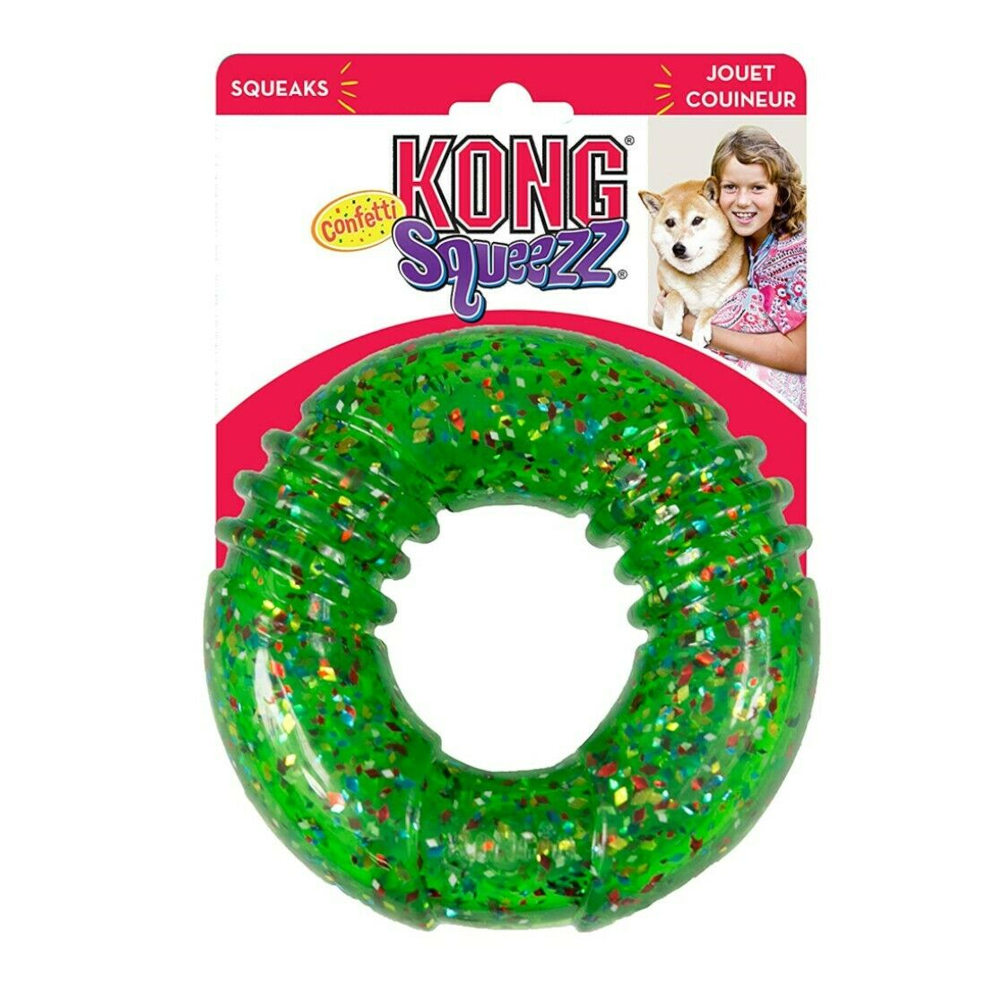 KONG Squeezz Confetti Ring Dog Toy, Large