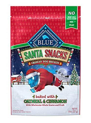 Blue Buffalo Santa Snacks Oatmeal Cinammon Dog Biscuits, 8-oz bag