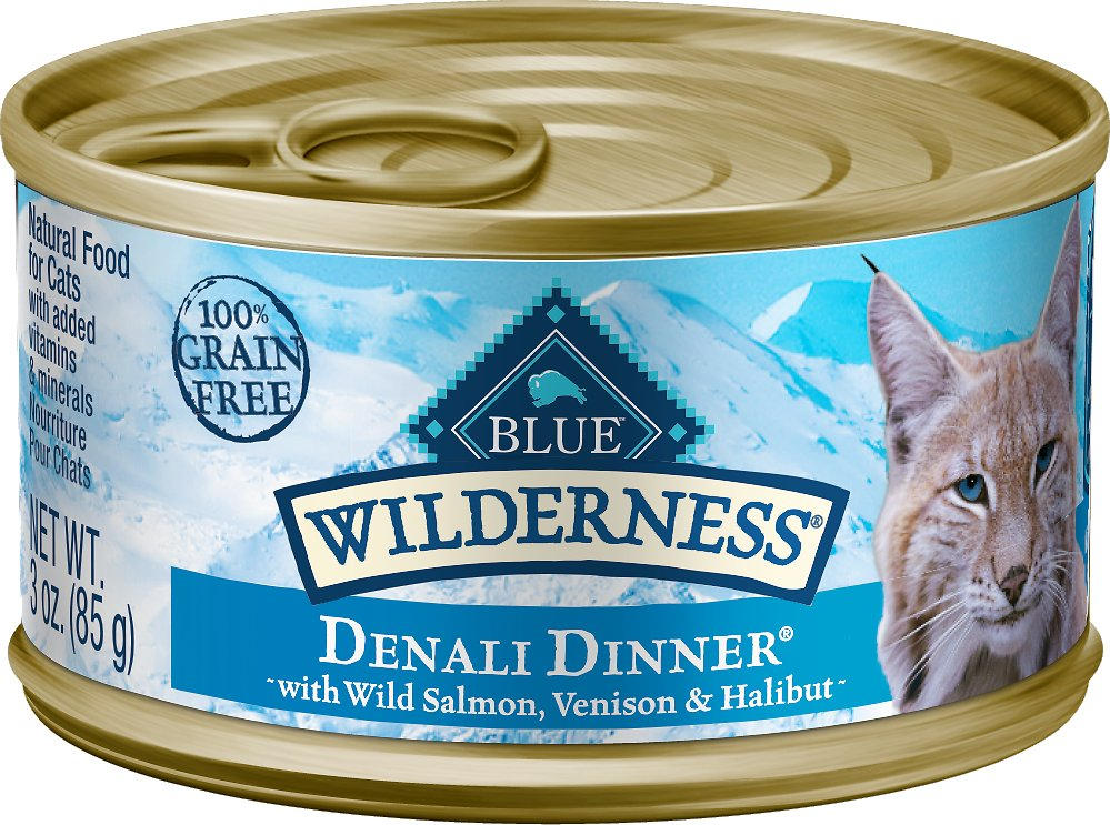 Blue Buffalo Wilderness Denali Dinner with Wild Salmon, Venison & Halibut Grain-Free Canned Cat Food, 3-oz can