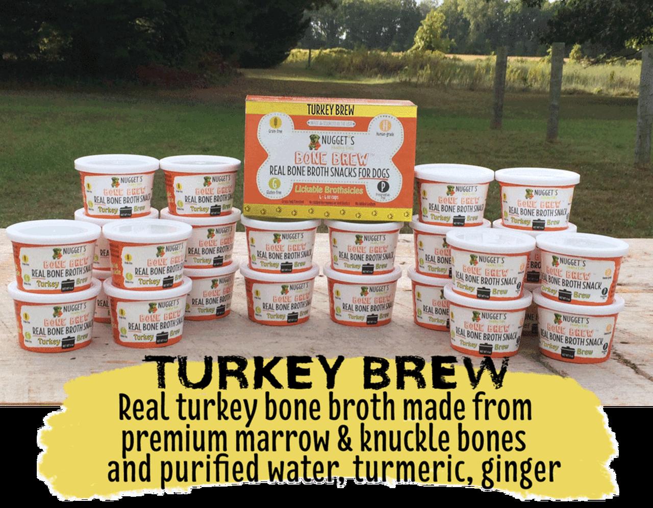 Nugget's Healthy Eats Turkey Bone Broth Dog Treats, 4-oz, 4-pk