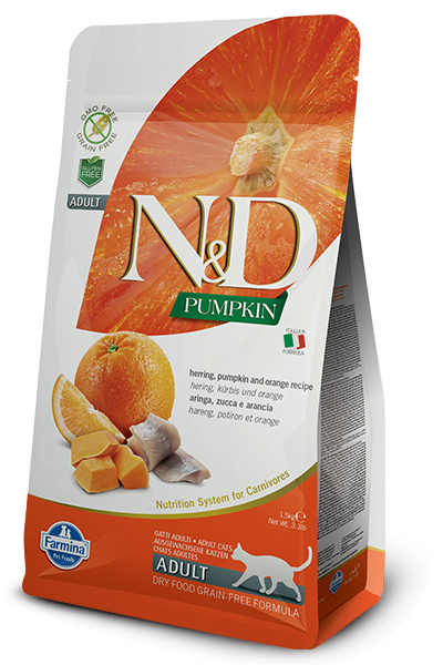 Farmina N&D Pumpkin Herring & Orange Dry Cat Food, 3.3-lb