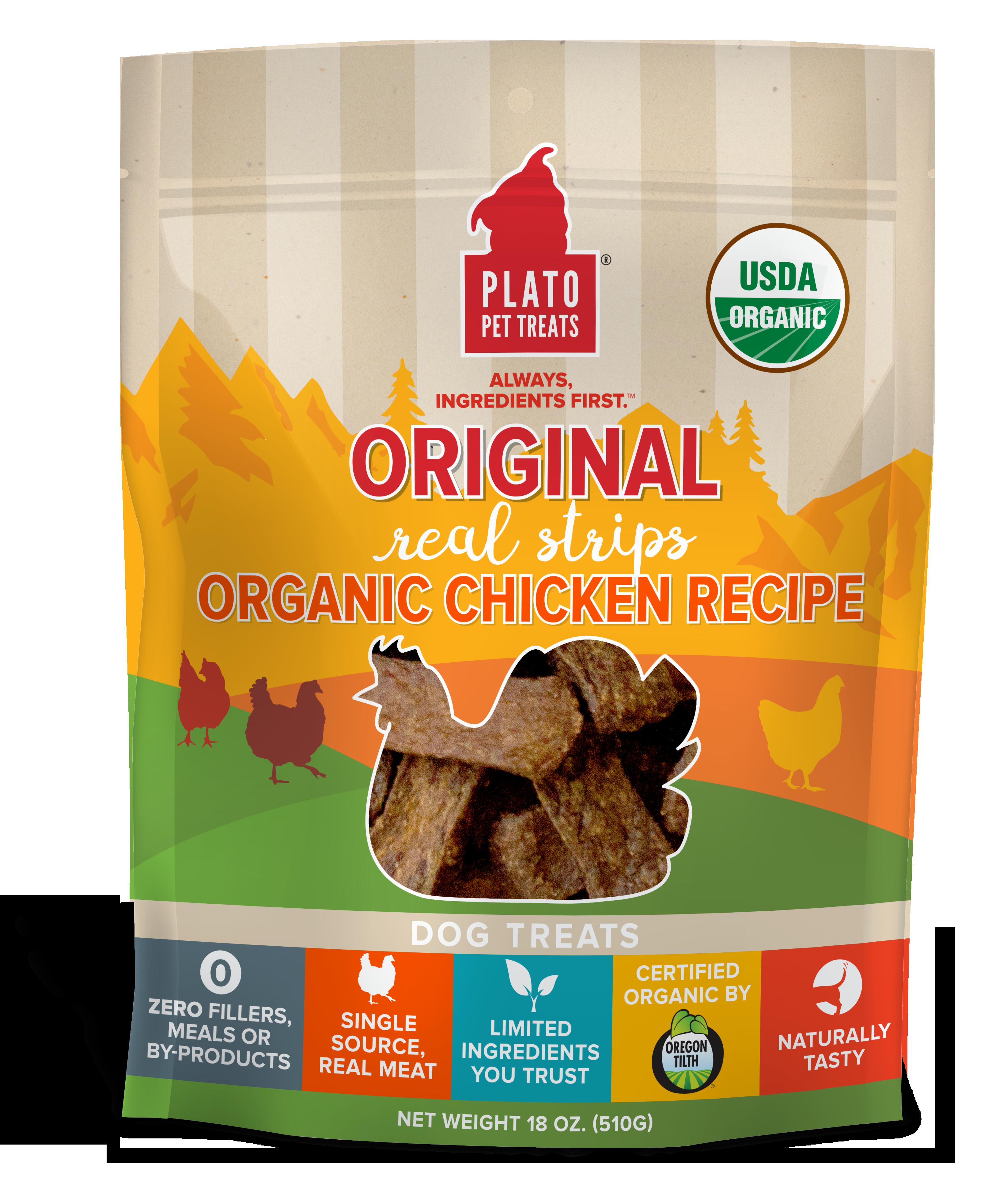 Plato Original Real Strips Organic Chicken Recipe Dog Treats, 18-oz