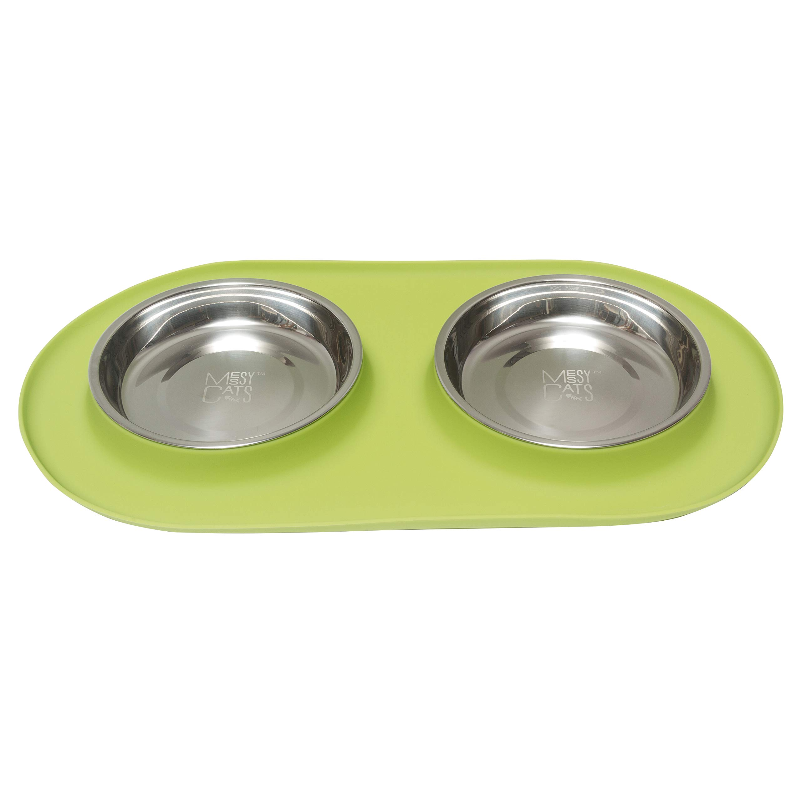 Messy Cats Stainless Steel Cat Double Feeder with Non-Slip Silicone Base Cat Bowl, Green, Medium