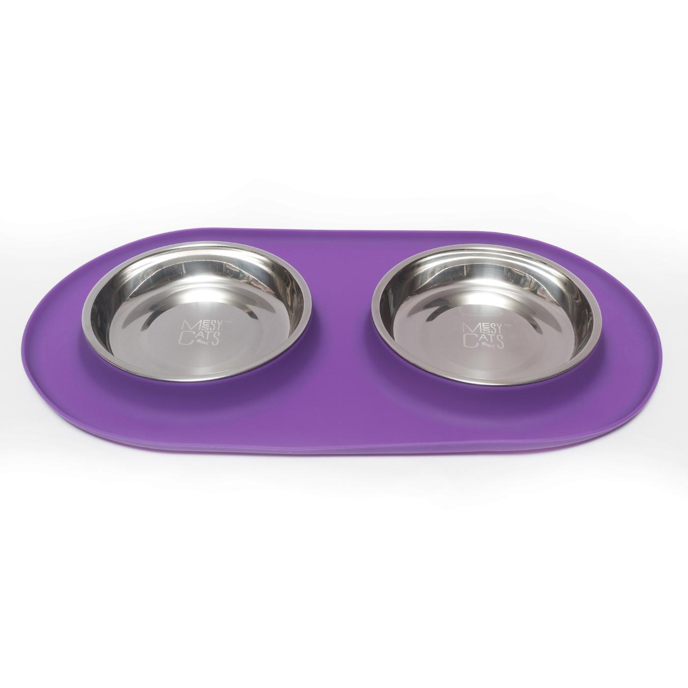 Messy Cats Stainless Steel Cat Double Feeder with Non-Slip Silicone Base Cat Bowl, Purple, Medium