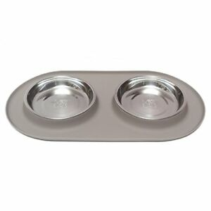 Messy Cats Stainless Steel Cat Double Feeder with Non-Slip Silicone Base Cat Bowl, Grey, Medium