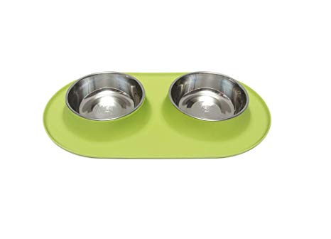 Messy Mutts Silicone Double Pet Feeder, Green, Large