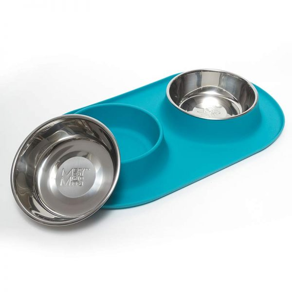 Messy Mutts Silicone Double Pet Feeder, Blue, Medium
