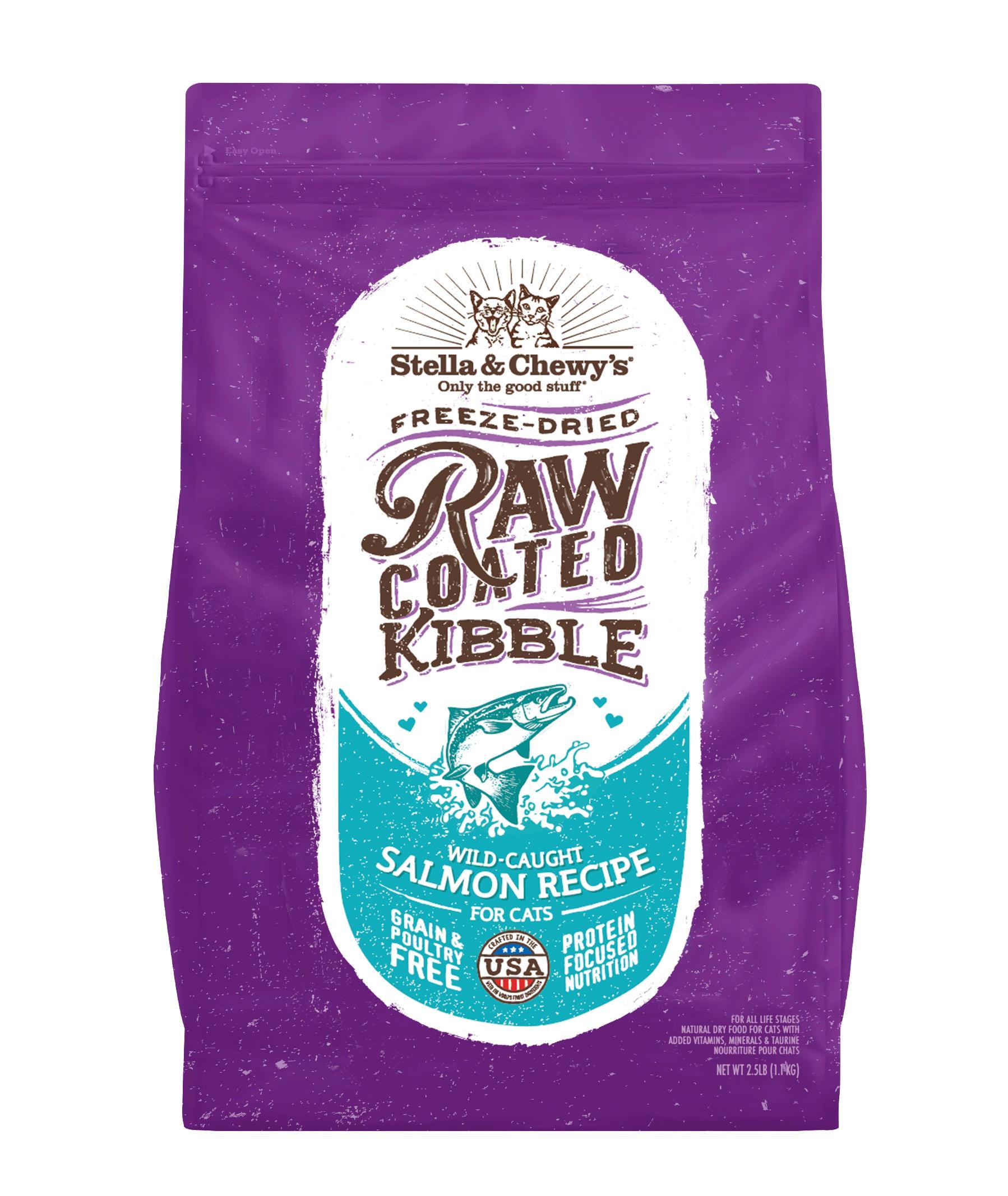 Stella & Chewy's Raw Coated Kibble Wild Caught Salmon Recipe Grain-Free Dry Cat Food, 2.5-lb