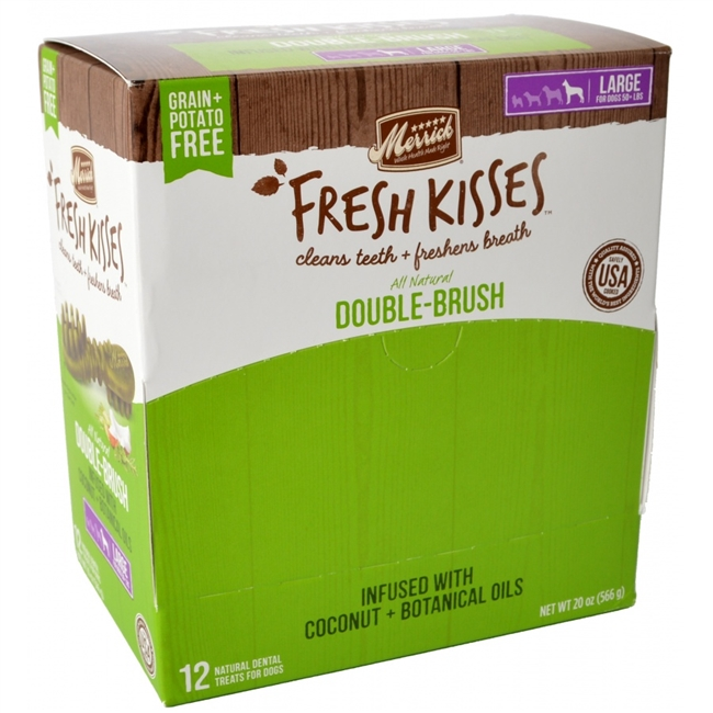 Merrick Fresh Kisses Double-Brush Coconut Oil & Botanicals Large Grain-Free Dental Dog Treats, 1-count