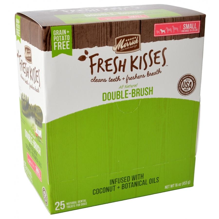 Merrick Fresh Kisses Double-Brush Coconut Oil & Botanicals Small Grain-Free Dental Dog Treats, 1-count