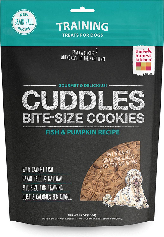The Honest Kitchen Cuddles Grain-Free Fish & Pumpkin Recipe Cookie Dog Treats, 12-oz bag