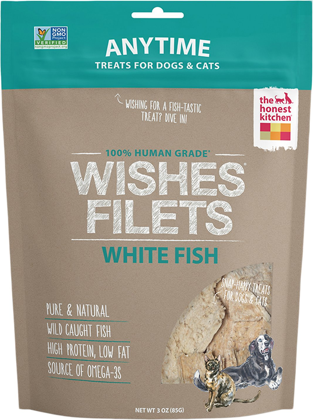The Honest Kitchen Wishes Dehydrated White Fish Filets Dog & Cat Treats, 3-oz bag Image