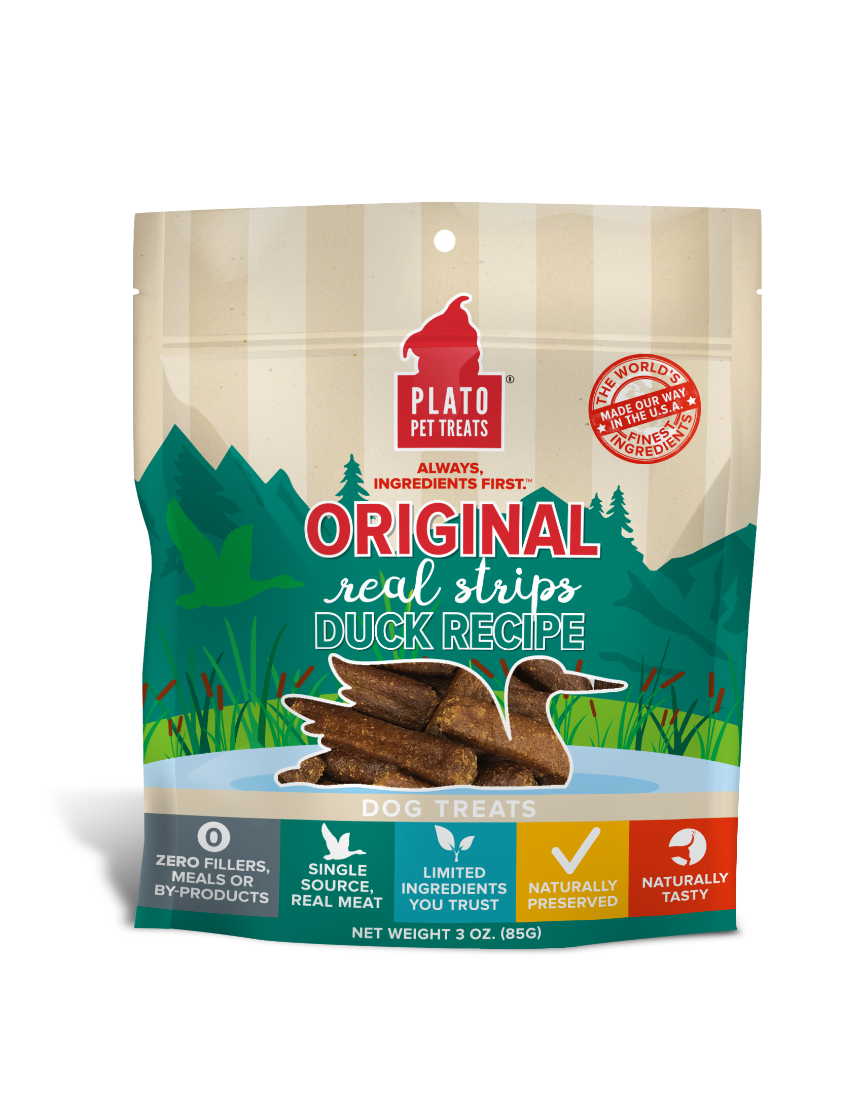 Plato Original Real Strips Duck Recipe Dog Treats, 3-oz