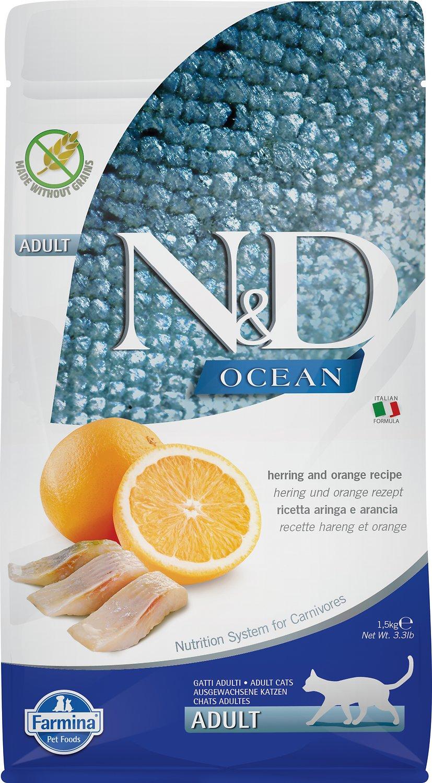 Farmina N&D Ocean Herring & Orange Adult Dry Cat Food, 3.3-lb